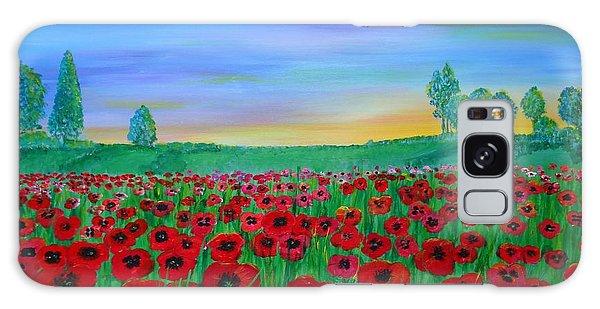 Poppy Field At Sunset Galaxy Case