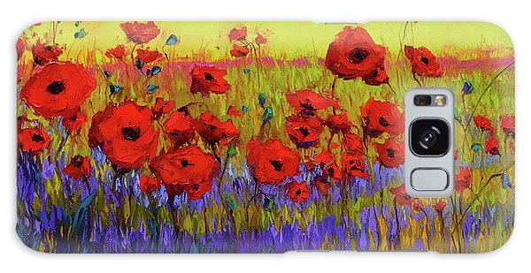 Poppy Flower Field Oil Painting With Palette Knife Galaxy Case