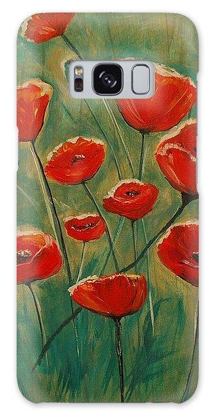 Poppy Surprise Galaxy Case by Leslie Allen