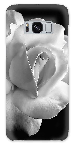 Black And White Galaxy Case - Porcelain Rose Flower Black And White by Jennie Marie Schell