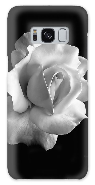 White Galaxy Case - Porcelain Rose Flower Black And White by Jennie Marie Schell