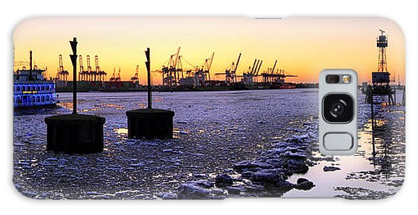Port Of Hamburg Winter Sunset Galaxy Case
