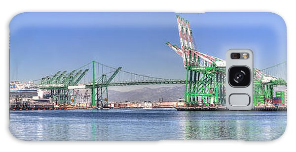 Port Of Los Angeles - Panoramic Galaxy Case by Jim Carrell