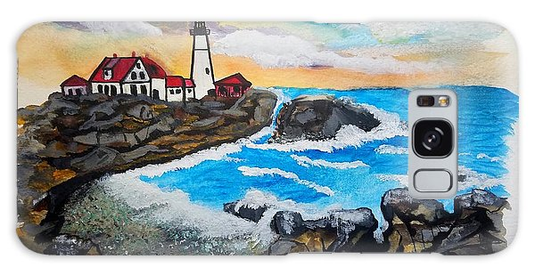 Porthead Lighthouse Maine In Watercolors Galaxy Case