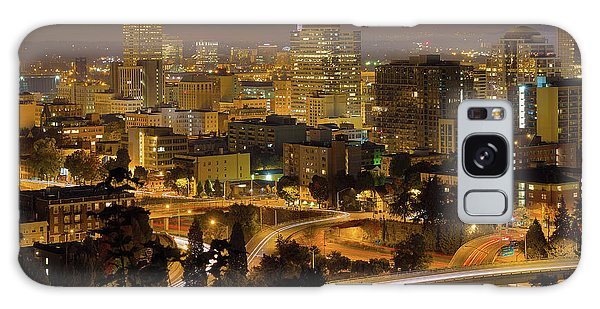 Galaxy Case - Portland Downtown Cityscape And Freeway At Night by David Gn