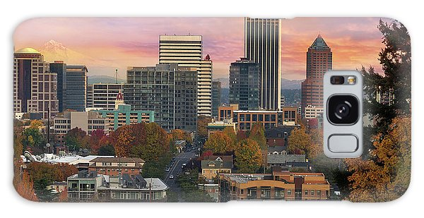 Galaxy Case - Portland Downtown Cityscape During Sunrise In Fall by David Gn