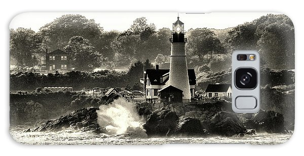 Portland Head Light At Cape Elizabeth In Black And White Galaxy Case