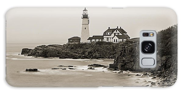 Portland Head Lighthouse Foggy Morning Sepia Galaxy Case