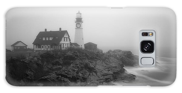 Portland Head Lighthouse In Fog Black And White Galaxy Case