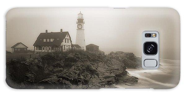 Portland Head Lighthouse In Fog Sepia Galaxy Case