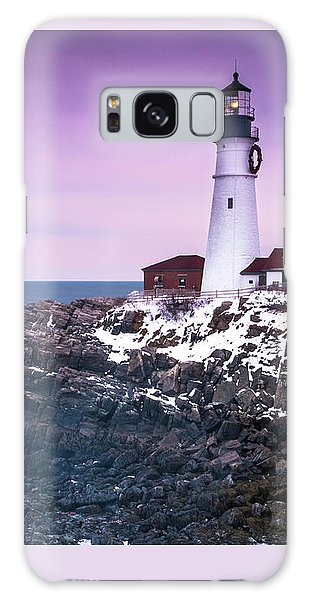 Maine Portland Headlight Lighthouse In Winter Snow Galaxy Case by Ranjay Mitra