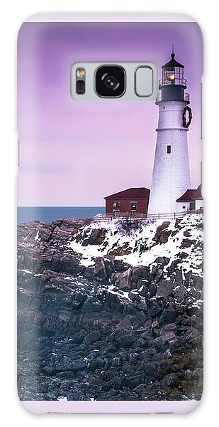 Maine Portland Headlight Lighthouse In Winter Snow Galaxy Case