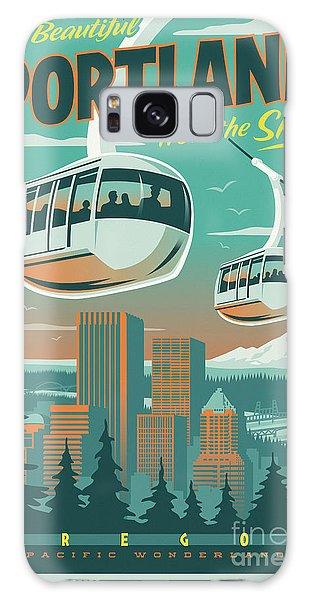 Portland Tram Retro Travel Poster Galaxy Case