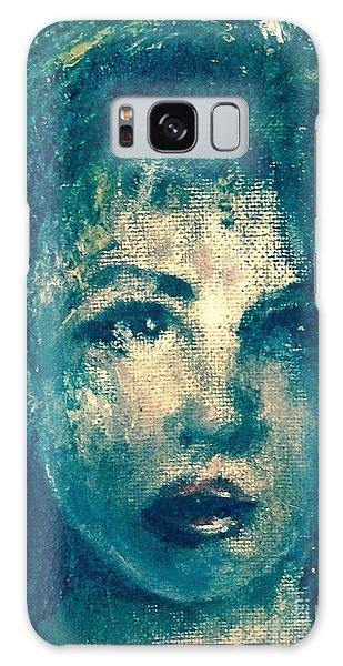 Portrait In Blue Galaxy Case