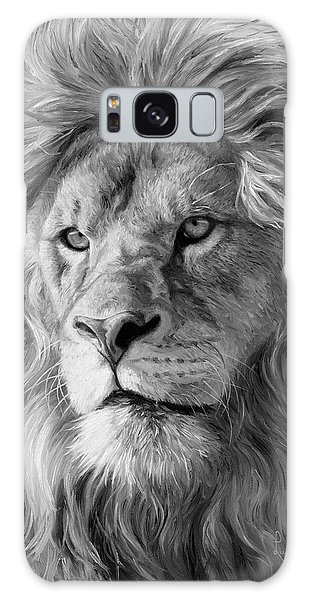 Portrait Of A Lion - Black And White Galaxy Case