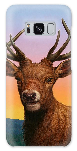 Antlers Galaxy Case - Portrait Of A Red Deer by James W Johnson