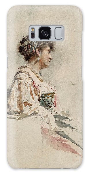 Impressionistic Galaxy Case - Portrait Of A Young Woman by Mariano Fortuny