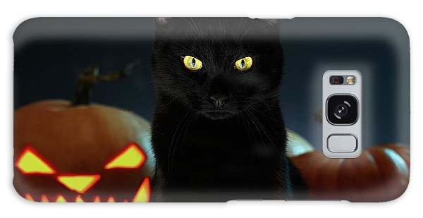 Portrait Of Black Cat With Pumpkin On Halloween Galaxy Case