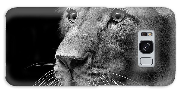 Lion Galaxy Case - Portrait Of Lion In Black And White II by Lukas Holas