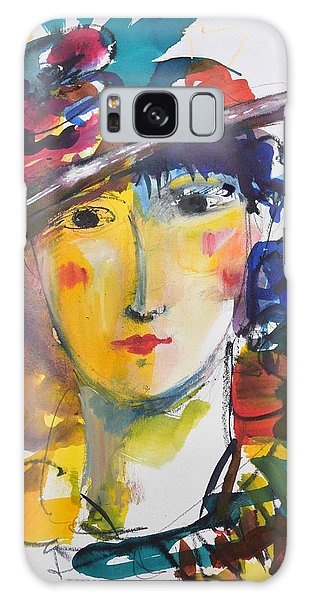 Portrait Of Woman With Flower Hat Galaxy Case
