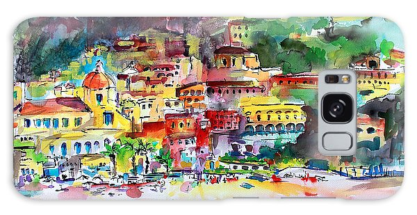 Amalfi Coast Positano Summer Fun Watercolor Painting Galaxy Case