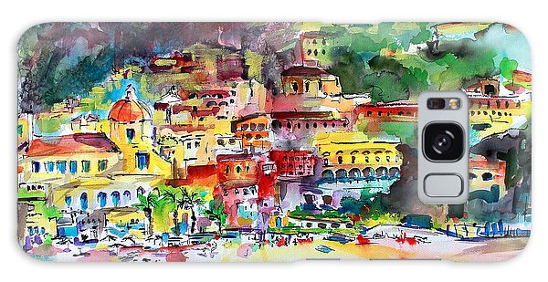 Amalfi Coast Positano Summer Fun Watercolor Painting Galaxy Case