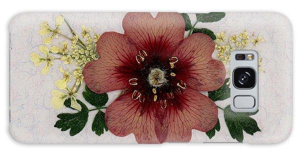 Potentilla And Queen-ann's-lace Pressed Flower Arrangement Galaxy Case