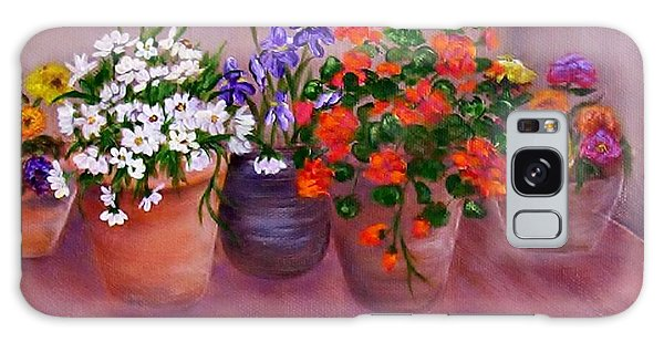 Pots Of Flowers Galaxy Case by Jamie Frier