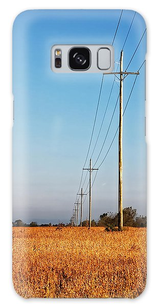 Galaxy Case featuring the photograph Power Lines At Sunrise by Lars Lentz