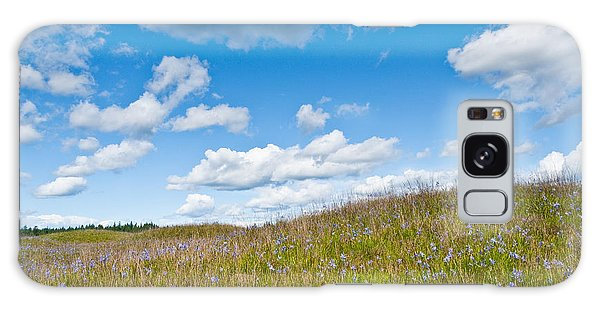 Prairie In Bloom Under Blue Sky Galaxy Case