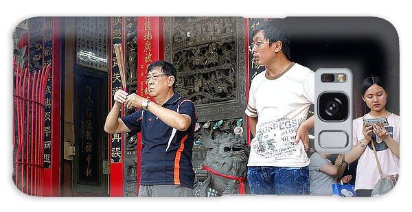 Praying At A Temple In Taiwan Galaxy Case by Yali Shi