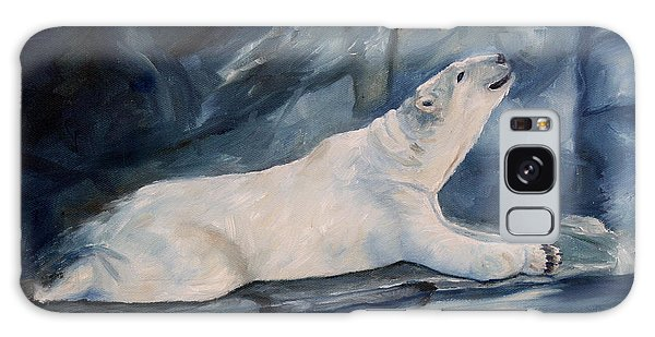 Praying Polar Bear Original Oil Painting Galaxy Case by Brenda Thour