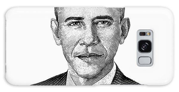 Barack Obama Galaxy Case - President Barack Obama Graphic Black And White by War Is Hell Store