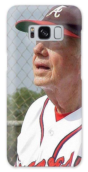 President Jimmy Carter - Atlanta Braves Jersey And Cap Galaxy Case by Jerry Battle