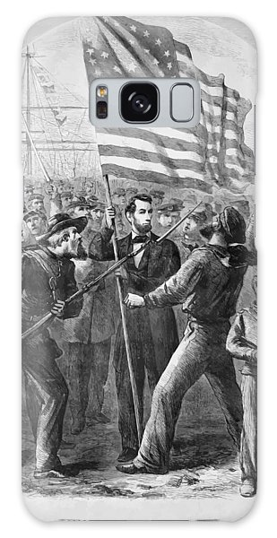 Abraham Lincoln Galaxy Case - President Lincoln Holding The American Flag by War Is Hell Store