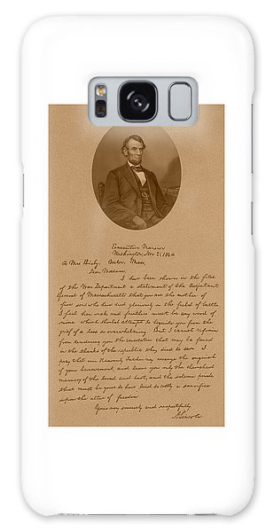 Abraham Lincoln Galaxy S8 Case - President Lincoln's Letter To Mrs. Bixby by War Is Hell Store