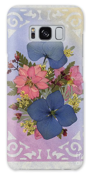 Pressed Flowers Arrangement With Pink Larkspur And Hydrangea Galaxy Case