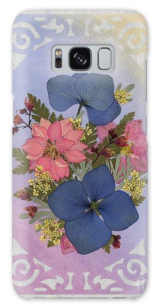 Pressed Flowers Arrangement With Pink Larkspur And Hydrangea Galaxy Case