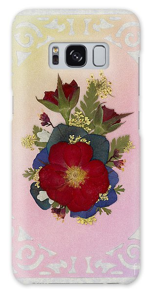 Pressed Flowers Arrangement With Red Roses Galaxy Case