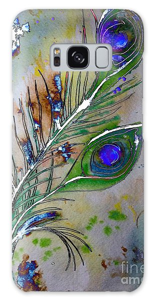 Galaxy Case featuring the painting Pretty As A Peacock by Denise Tomasura