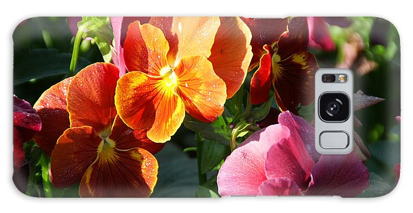 Pretty Pansies Galaxy Case by Andrea Jean