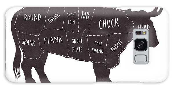 Primitive Butcher Shop Beef Cuts Chart T-shirt Galaxy Case