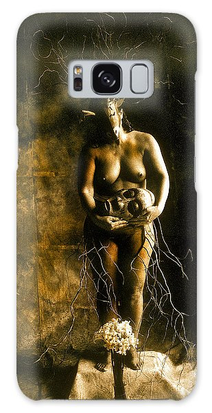 Primitive Woman Holding Mask Galaxy Case