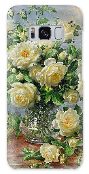 Bloom Galaxy Case - Princess Diana Roses In A Cut Glass Vase by Albert Williams