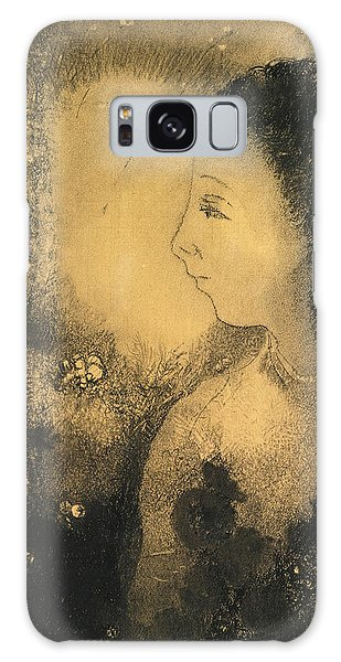 Impressionistic Galaxy Case - Profile Of A Woman With Flowers by Odilon Redon