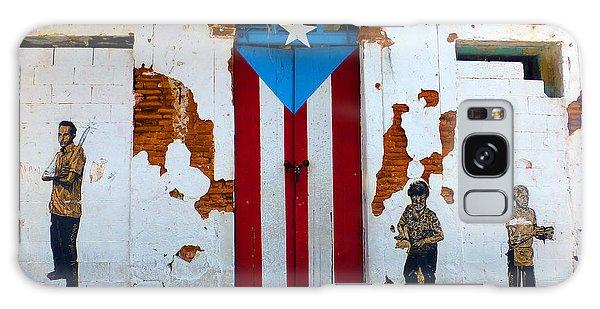 Puerto Rican Flag On Wooden Door Galaxy Case