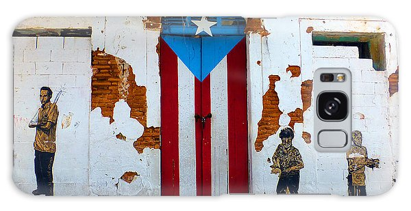 Puerto Rican Flag On Wooden Door Galaxy Case