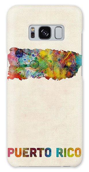Puerto Rico Watercolor Map Galaxy Case