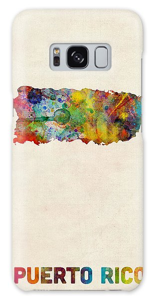 Usa Galaxy Case - Puerto Rico Watercolor Map by Michael Tompsett