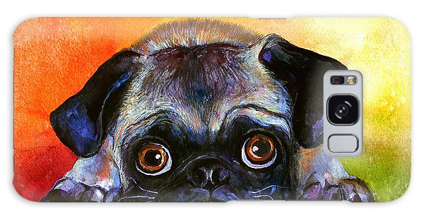 Watercolor Pet Portraits Galaxy Case - Pug Dog Portrait Painting by Svetlana Novikova